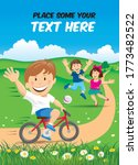 happy smiling boy on bicycle... | Shutterstock .eps vector #1773482522