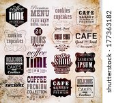 retro coffee  labels and... | Shutterstock .eps vector #177363182