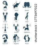 dark blue set of zodiac signs... | Shutterstock .eps vector #1773697022