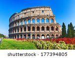 Ancient Colosseum With Flowers...