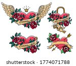 Set Of Heart Tattoos With Rose...