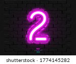 neon digit on a brick vector... | Shutterstock .eps vector #1774145282