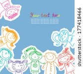 children drawn colored markers | Shutterstock .eps vector #177418466