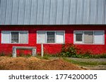 Red Farm Barn With Three...