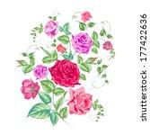 roses branch  floral background.... | Shutterstock .eps vector #177422636
