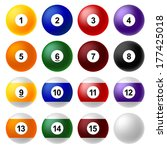 billiard ball set | Shutterstock .eps vector #177425018