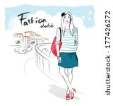 fashion woman  | Shutterstock .eps vector #177426272