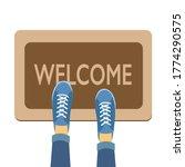 welcome doormat with blue shoes ... | Shutterstock .eps vector #1774290575