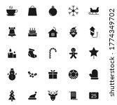 christmas black vector icons...