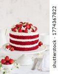 Red Velvet Cake Decorated With...