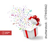 open gift and confetti.... | Shutterstock .eps vector #177443462