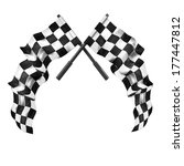 two crossed checkered flags... | Shutterstock . vector #177447812