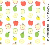 apple whole  cut  half and...   Shutterstock .eps vector #1774506932