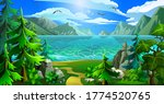 the lake is surrounded by... | Shutterstock .eps vector #1774520765