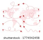 set of red love airplane routes....   Shutterstock .eps vector #1774542458