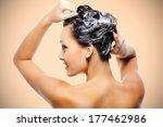 beautiful young woman soaping... | Shutterstock . vector #177462986
