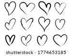 vector heart shape frame with... | Shutterstock .eps vector #1774653185