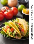 taco shells with beef and... | Shutterstock . vector #177467792