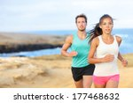 people jogging for fitness... | Shutterstock . vector #177468632