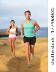 runners couple jogging for... | Shutterstock . vector #177468635
