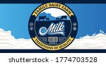 vector milk round label with...   Shutterstock .eps vector #1774703528