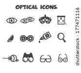 optical icons, vector symbols