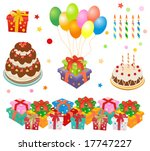 gift boxes  cakes  balloons... | Shutterstock .eps vector #17747227