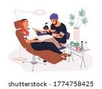 hipster guy tattoo master at... | Shutterstock .eps vector #1774758425