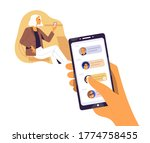 human hand hold smartphone with ... | Shutterstock .eps vector #1774758455
