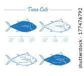 tuna cuts   blue on white  ... | Shutterstock . vector #177476792