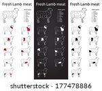 fresh lamb meat parts icons for ... | Shutterstock .eps vector #177478886
