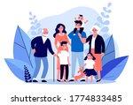 happy big family standing... | Shutterstock . vector #1774833485