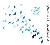 blue swallows. flying flock of... | Shutterstock .eps vector #1774839668