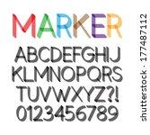 rounded bold marker pen font... | Shutterstock .eps vector #177487112