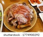 Small photo of Korean Braised pig's trotters or Jokbal in Korean language
