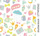 cute love seamless pattern.   Shutterstock .eps vector #177493562