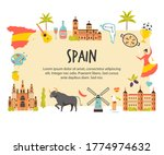 tourist poster with famous... | Shutterstock .eps vector #1774974632