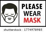 please wear mask sign banner...   Shutterstock .eps vector #1774978985
