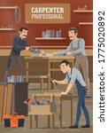carpenter and woodworker worker ...   Shutterstock .eps vector #1775020892