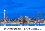 scenic view of Seattle city in the night time with reflection of the water,Seattle,Washington,USA.. - stock photo