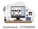 online work. video conference ... | Shutterstock .eps vector #1775058548