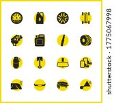 car parts icons set with car...