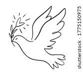 Line Art Dove. Flying Pigeon...