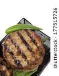 two extra thick hot beef meat hamburger lunch isolated on white background - stock photo