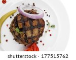 extra thick hot beef meat hamburger dinner on white plate with tomatoes salad and ketchup isolated on white background - stock photo