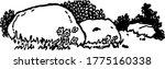 a rocks in a grassy field ... | Shutterstock .eps vector #1775160338