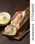 Baguette And Butter On The Table