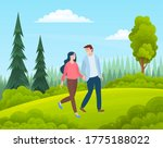 couple walking in a forest.... | Shutterstock .eps vector #1775188022