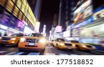 Time Square Full Of Taxi Cabs...