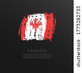Flag Of Canada In Grunge Brush...